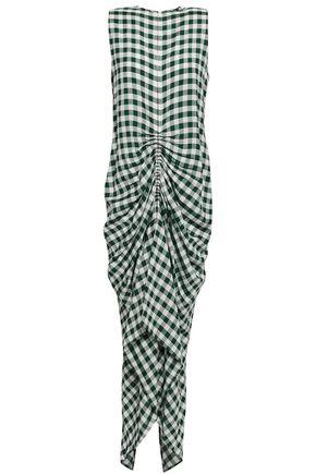 JOSEPH Ruched gingham-jacquard midi dress