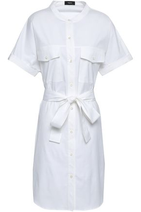 THEORY Belted stretch cotton-poplin shirt dress
