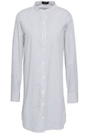 THEORY Striped stretch cotton-poplin tunic