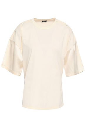 JOSEPH Paneled cotton-jersey and silk-satin top
