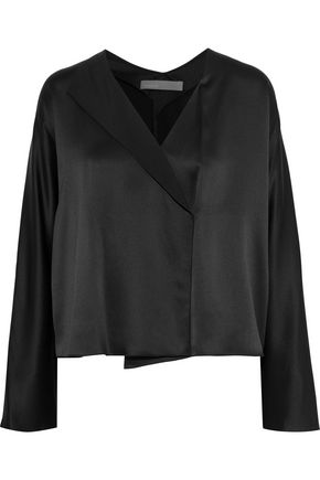 VINCE. Wrap-effect crepe-trimmed silk-satin blouse