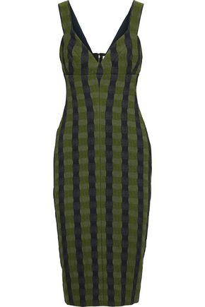 VICTORIA BECKHAM Striped cloqué-jacquard dress