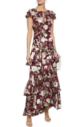 ALICE + OLIVIA Jenny tiered floral-print fil coupé chiffon maxi dress