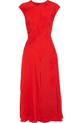 VICTORIA BECKHAM Patchwork crepe, jacquard and silk crepe de chine midi dress