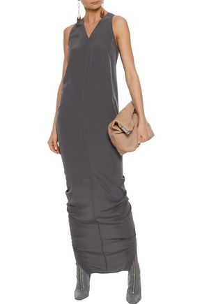 RICK OWENS Moody split-back silk crepe de chine maxi dress