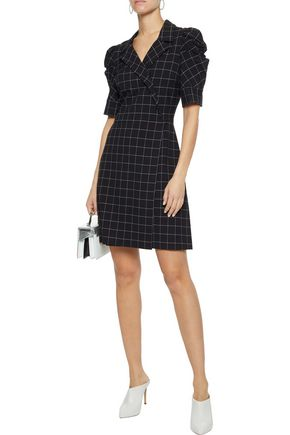 ALICE + OLIVIA Rhoda wrap-effect checked cady mini dress