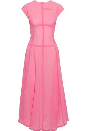 VICTORIA BECKHAM Crinkled crepe de chine midi dress