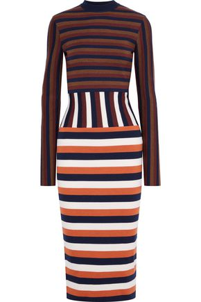 VICTORIA BECKHAM Striped wool-blend midi dress