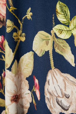 ALICE + OLIVIA Delora poplin-trimmed floral-print stretch-jersey midi dress
