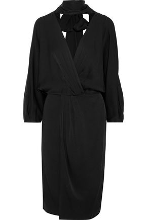 DIANE VON FURSTENBERG Wrap-effect pleated satin-crepe dress