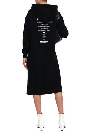 EACH X OTHER Embroidered printed French cotton-terry hooded sweatshirt