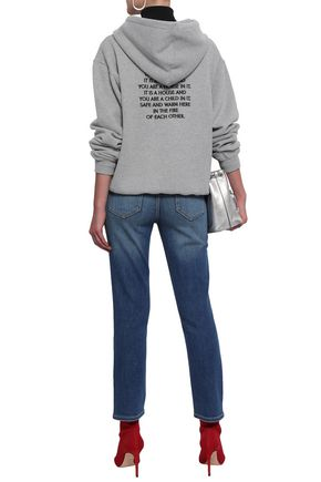 EACH X OTHER Embroidered French cotton-terry hooded sweatshirt