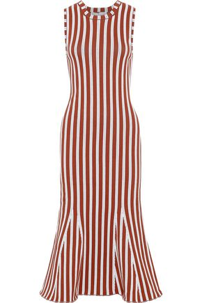 VICTORIA BECKHAM Fluted striped cotton-blend midi dress