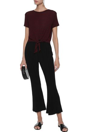 ENZA COSTA Knotted striped stretch-jersey T-shirt