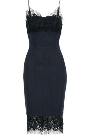 VICTORIA BECKHAM Lace-paneled pinstriped wool-blend slip dress