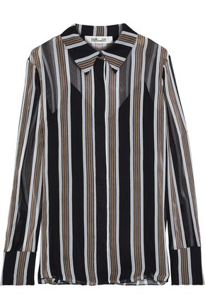 DIANE VON FURSTENBERG Striped silk-georgette shirt