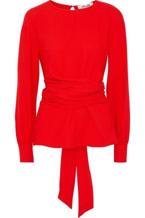 DIANE VON FURSTENBERG Tie-back stretch-crepe blouse