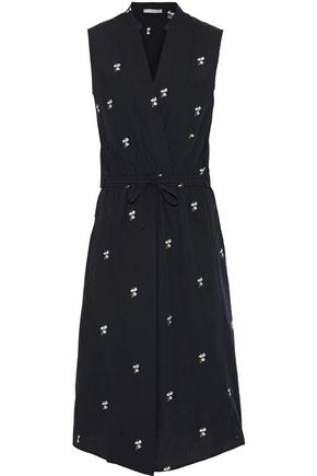 VINCE. Embroidered cotton-voile midi dress