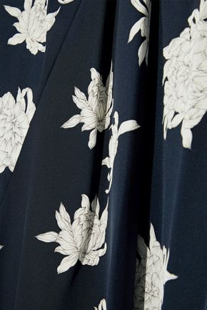 VINCE. Draped floral-print silk crepe de chine midi dress