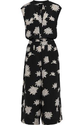 VINCE. Cropped floral-print silk crepe de chine jumpsuit