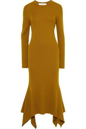 VICTORIA BECKHAM | Victoria Beckham Fluted Ribbed Wool Midi Dress | Goxip