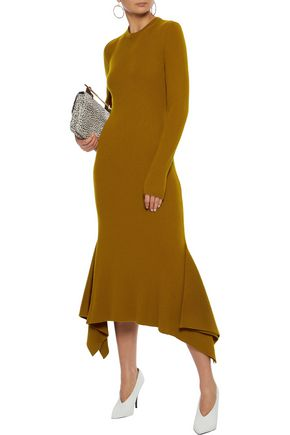 VICTORIA BECKHAM Fluted ribbed wool midi dress