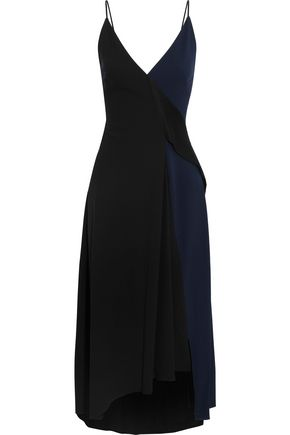 VICTORIA BECKHAM Wrap-effect two-tone satin-crepe midi dress