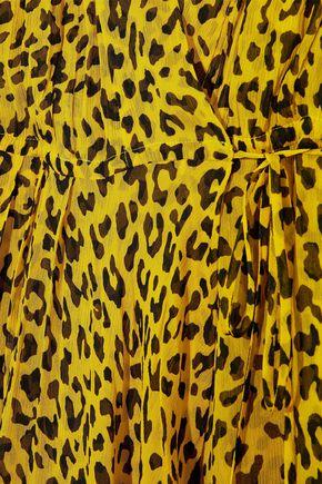 DIANE VON FURSTENBERG Cold-shoulder leopard-print silk-georgette maxi wrap dress