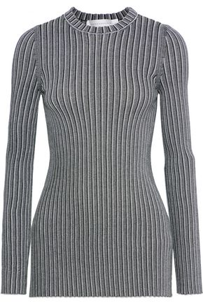 VICTORIA BECKHAM Marled ribbed-knit sweater