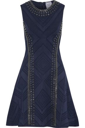HERVÉ LÉGER Jaclyn embellished jacquard-knit mini dress