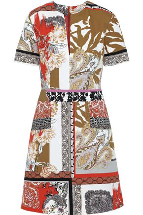 ETRO Patchwork-effect printed cotton-canvas mini dress