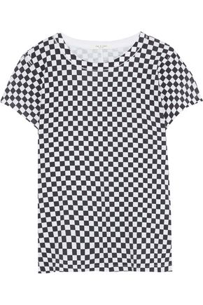 RAG & BONE Checked Pima cotton-jersey T-shirt