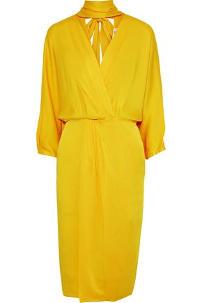 DIANE VON FURSTENBERG Wrap-effect cutout satin-crepe dress