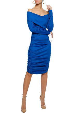 DIANE VON FURSTENBERG Off-the-shoulder ruched stretch-knit dress