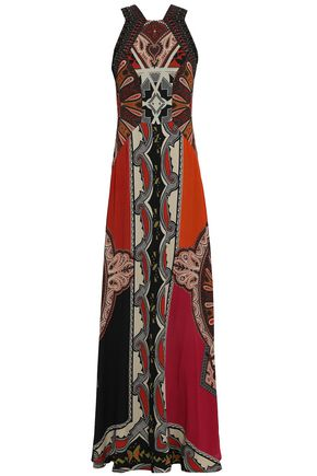 ETRO Embellished printed silk-crepe maxi dress