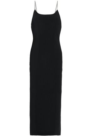 ALEXANDER WANG Chain-trimmed ribbed-knit midi dress