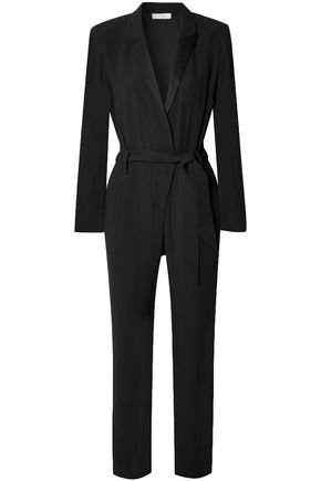 IRO Jesalo belted satin-trimmed crepe jumpsuit