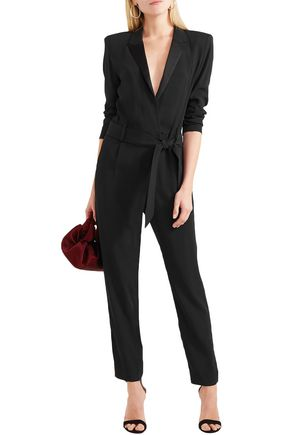 224a652b7665 IRO Jesalo belted satin-trimmed crepe jumpsuit