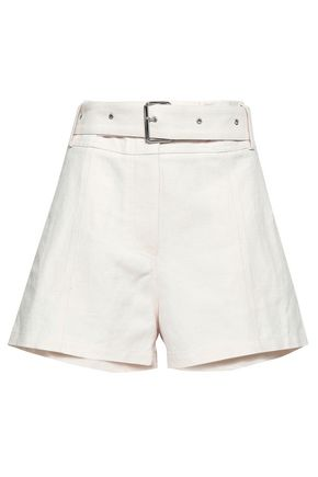 IRO Ifola belted linen and cotton-blend shorts