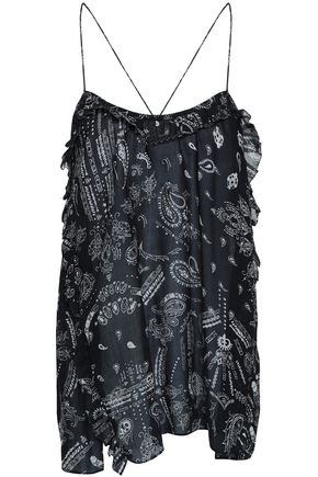 IRO Bamare ruffle-trimmed printed georgette camisole