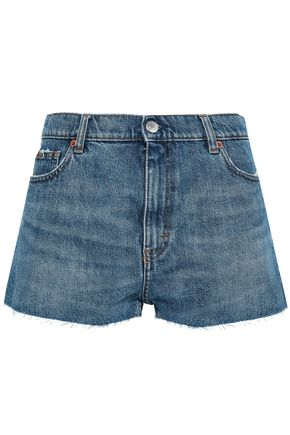 IRO Avel frayed two-tone denim shorts