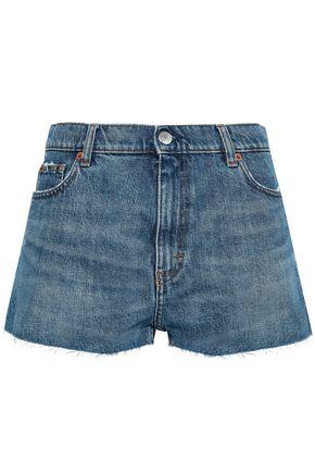 IRO Frayed two-tone denim shorts