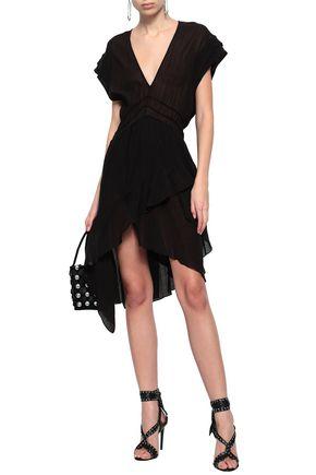 IRO Asymmetric draped crinkled-voile mini dress