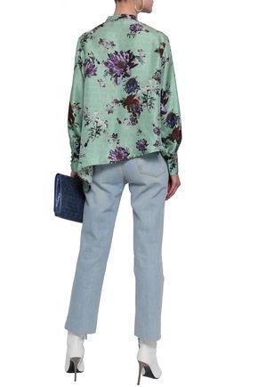 EACH X OTHER Asymmetric printed silk-twill blouse