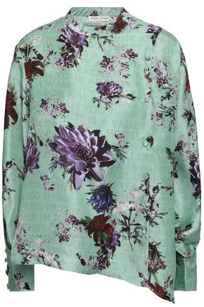 EACH X OTHER Asymmetric printed silk-twill blouse