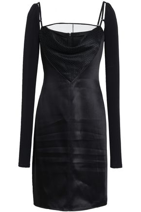 ALEXANDER WANG Cutout satin and stretch-jersey mini dress
