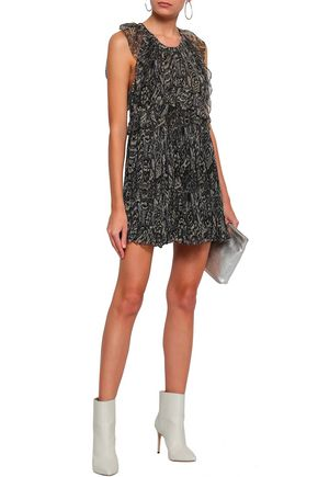IRO Ruffle-trimmed printed georgette mini dress
