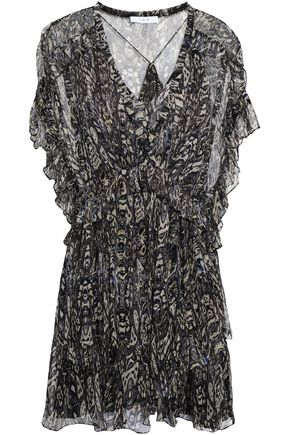IRO Gilio ruffled printed georgette mini dress