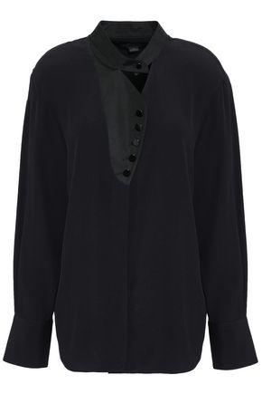 ALEXANDER WANG Sateen-trimmed cutout crepe shirt
