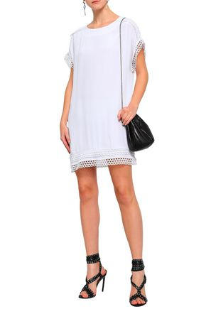 IRO Mulla open knit-trimmed crepe de chine mini dress
